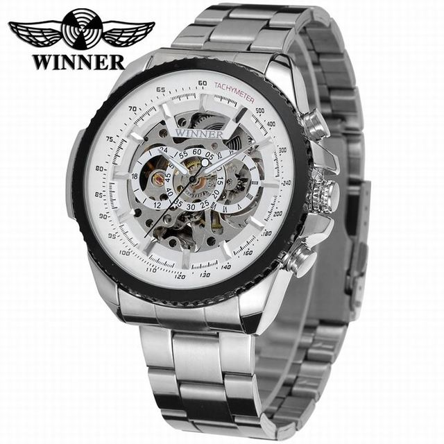 2016 WINNER Fashion Design Black mechanical Watch Steel Automatic watch men blac