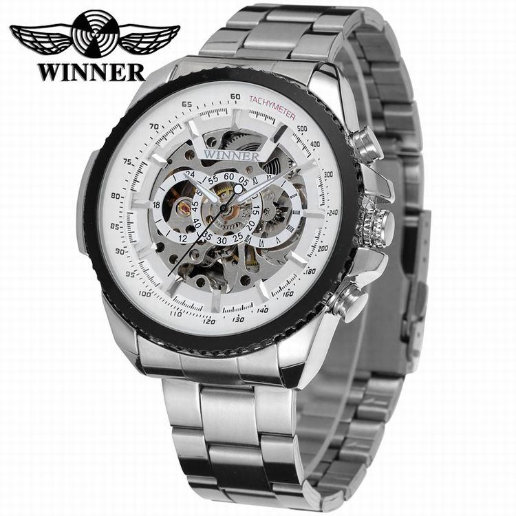 Zwycięzca Fashion Design czarny zegarek mechaniczny stalowy zegarek automatyczny mężczyźni czarny pasek ze stali nierdzewnej biznes Relogio męski