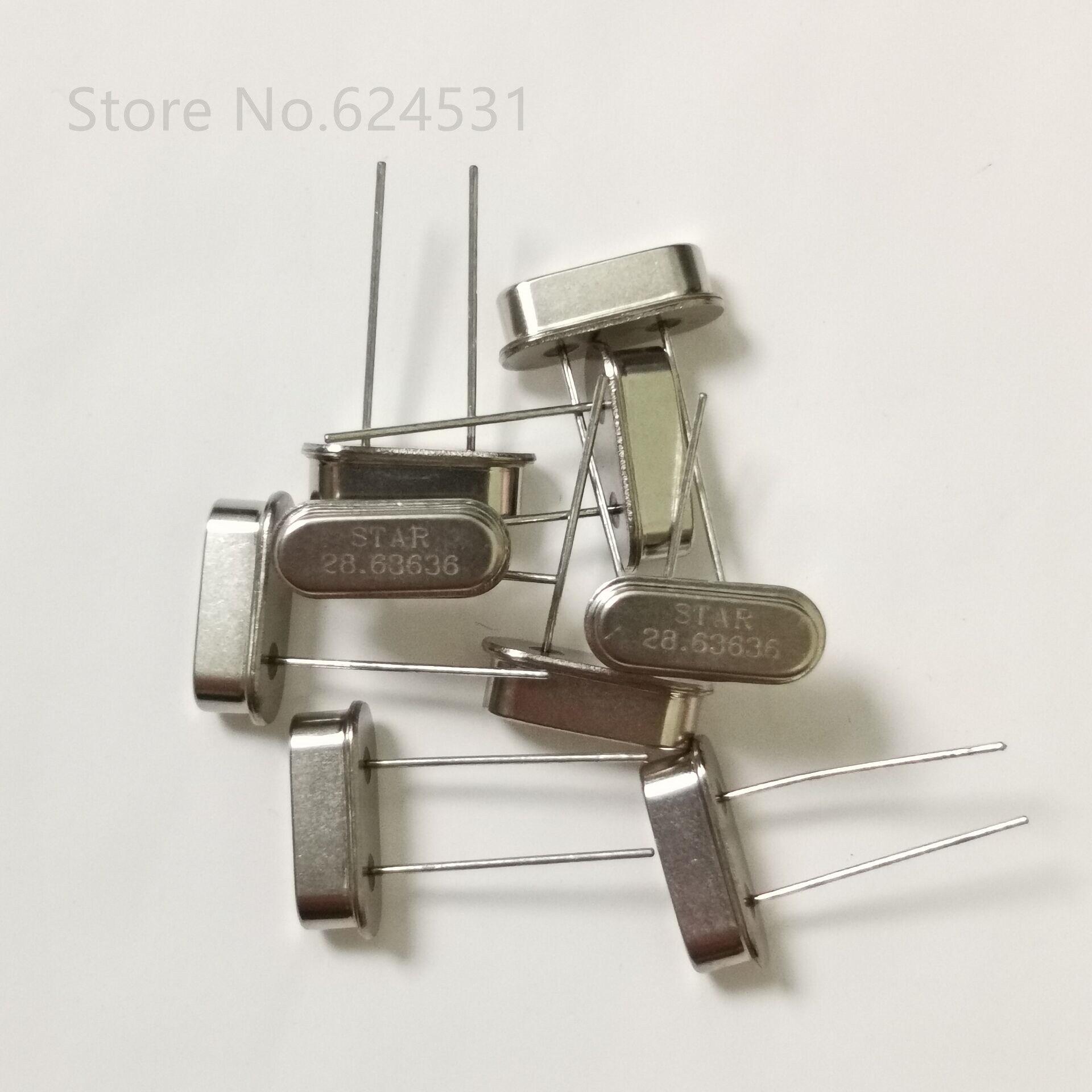 10pcs HC-49S In-line Crystal Oscillator 28.63636MHZ 2P 28.6363M DIP Resonator