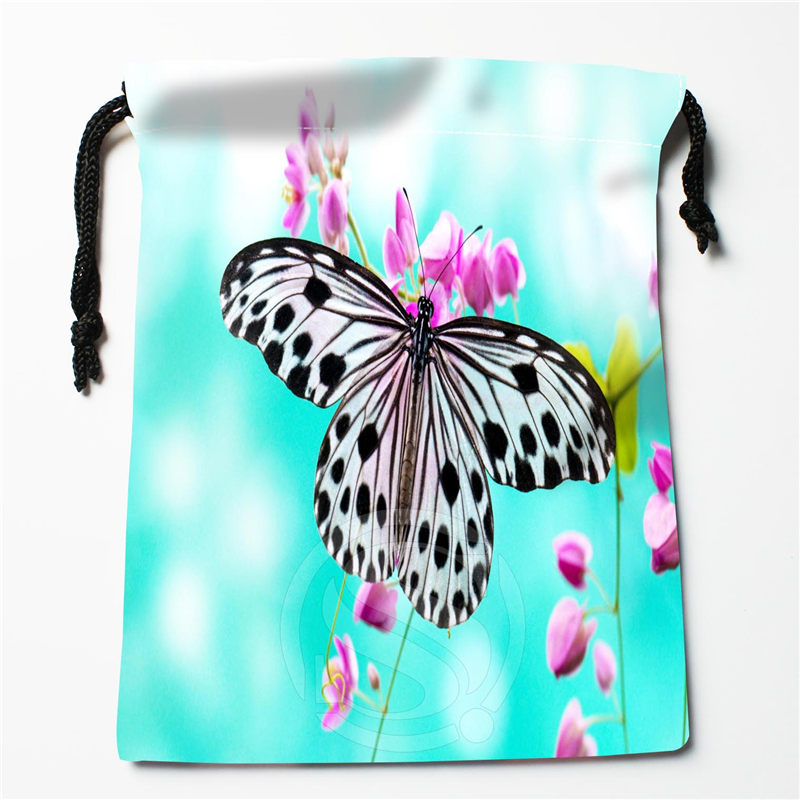 New Butterfly Flowers Printed Storage Bag 27x35cm Satin Drawstring Bags Compression Type Bags Customize Your Image Gifts