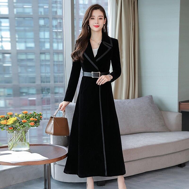 2018 Autumn Trench Coat Women Fashion Velvet Overcoat Full C