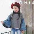 Маленькие девочки-подростки толстовки осень зима джинсы лоскутное форме крыла летучей мыши рукав 2016 девушки кофты с длинным рукавом дети топы одежда