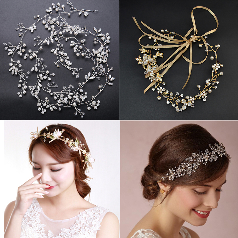 Beaded Headdress Wedding Gold Metal With Grey Beads Soft Tiara Boho Headband Accessories