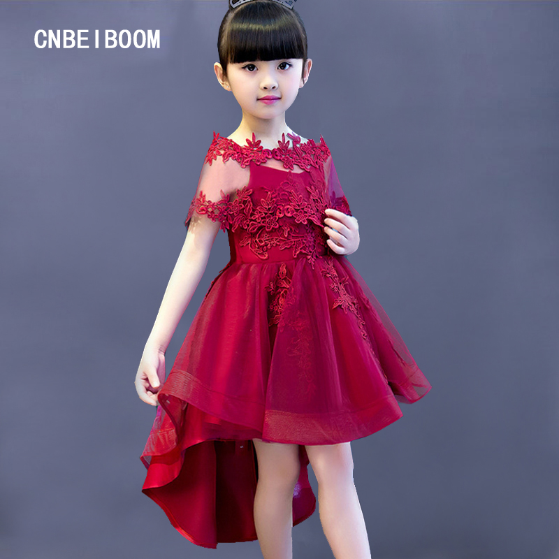 Elegant Flower Girl Dress For Braces Weddings Appliques Red wine Tulle  Dresses Shawl Baby Evening Party Christmas Prom Gown champagn tulle flower girl dresses for weddings with lace appliques beaded toddler pageant dress birthday party evening gowns