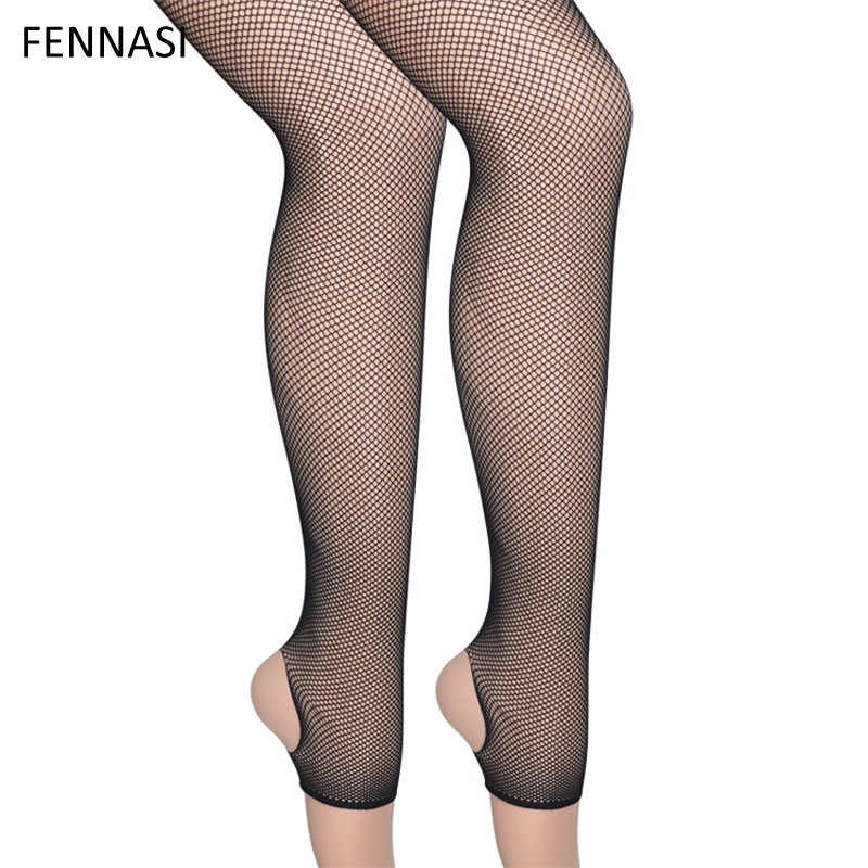1a43aee8ce8e1 ... FENNASI Women's Stirrup Fishnet Tights Sexy Open Toe Black Mesh Pantyhose  Female Erotic Mesh Stockings Thigh ...