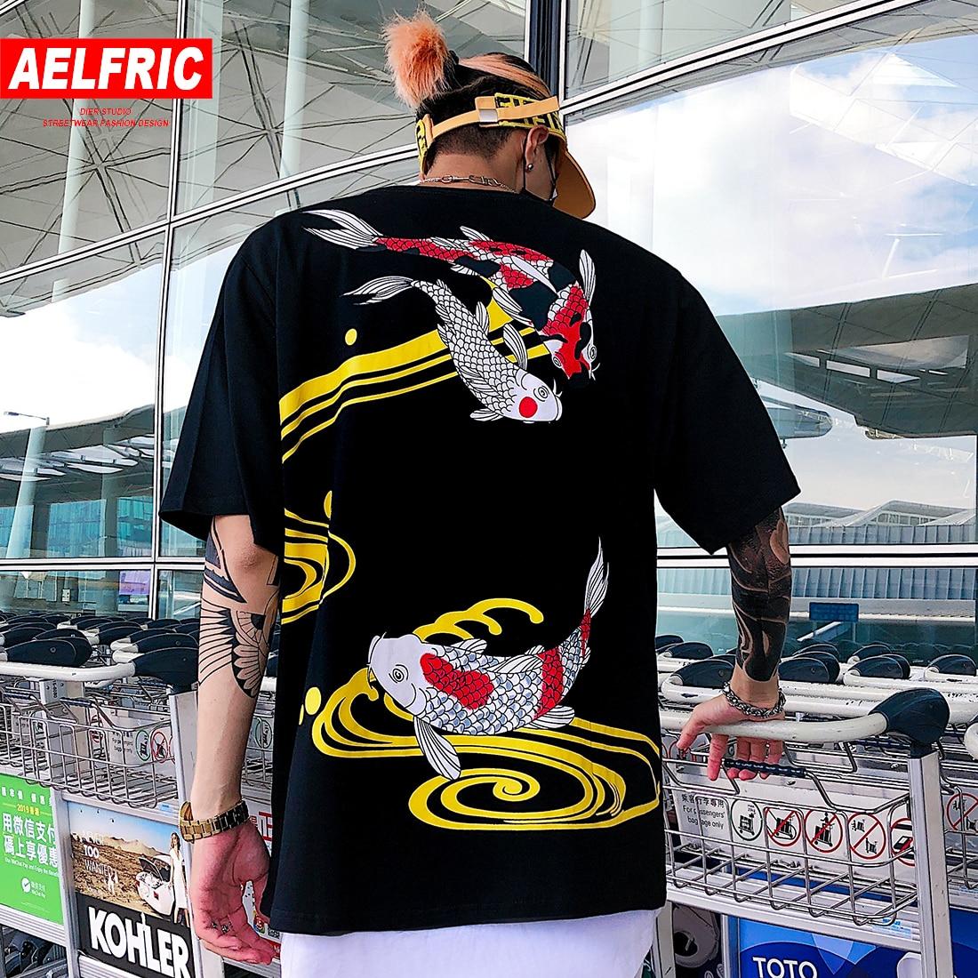 AELFRIC Japanese Style Koi Print Hip Hop Short Sleeve T-shirts Men Women Casual Streetwear 2019 Summer T-shirt Cotton Tops Tees