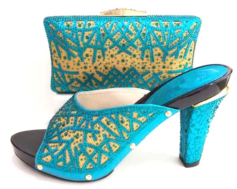 2018 new italian shoes and clutches bag elegant stones shoes and bag  matching set turquoise blue shoes and bag african SB8173 5-in Women s Pumps  from Shoes ... 6f386a350fe5