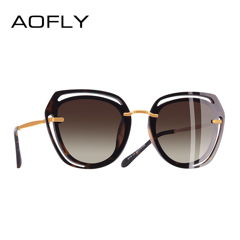 AOFLY BRAND DESIGN Square Sunglasses 2018 Fashion Hollow Out Frame Polarized Sunglasses Women Shades A119