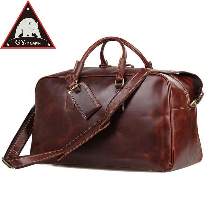 ANAPH вести чемодан одежды Duffle веккьо коричневый итальянский кожаный ночь вместительная сумка для путешествий мешок большой ёмкость одежда в