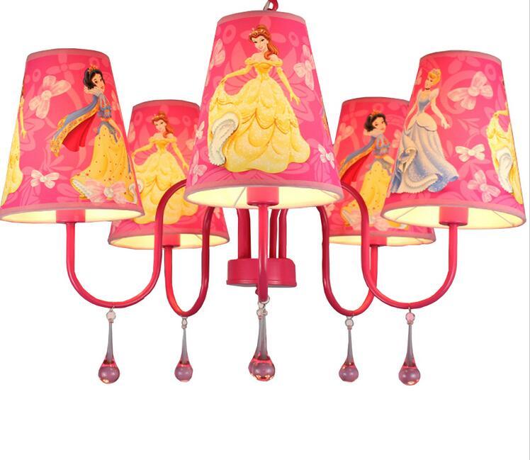 Fashion Children Modern Crystal Chandelier Cartoon Kids Girl Princess Prink Bedroom  Chandelier Led Lamp(China