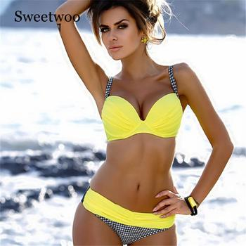 Swimwear Women Bikini S-XXL Biquini Swim Suit Underwire Push Up Swimsuit Female Beachwear Swimming Plaid Sexy