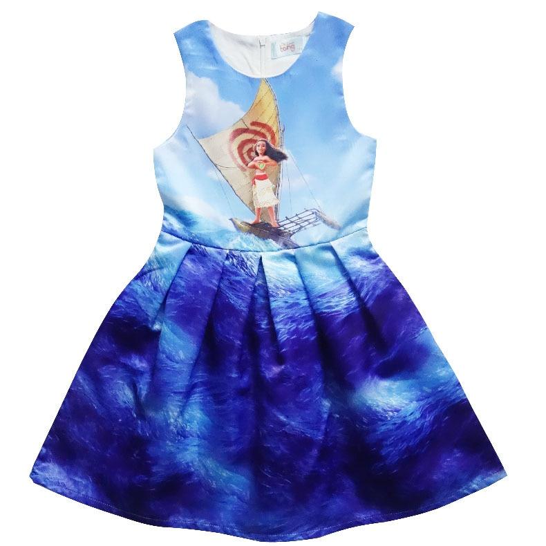 2017 Baby Girl Dress Moana Cartoon Summer Dress Costumes For Girls Party Kids Children Dress kids girls clothes H829 тонер картридж canon c exv21 magenta