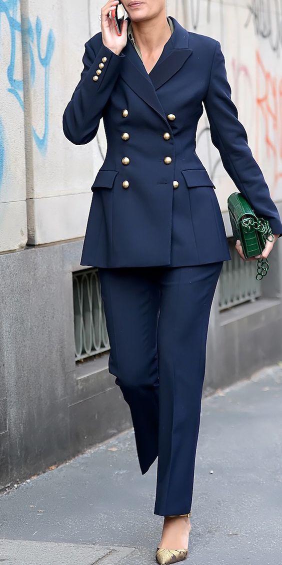 2018 פשוט אופנה זוגי חזה בלייזר שתי חתיכה דקה פורמליות משרד עסקי נשים גבירותיי חליפת סט בגדי עבודת W34