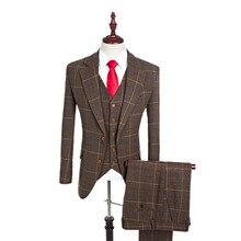 Laine Brun Classique Tweed Custom Made Hommes Costume Blazers Rétro  Gentleman Style Smokings de Marié De Mariage Costumes Pour H.. a9d68a779fe