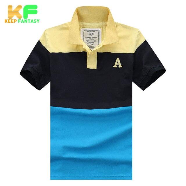 Полосатый рубашки поло мода марка - качество одежды с отложным воротником с коротким рукавом хлопок поло Homme Camisas Masculina MPTS1502