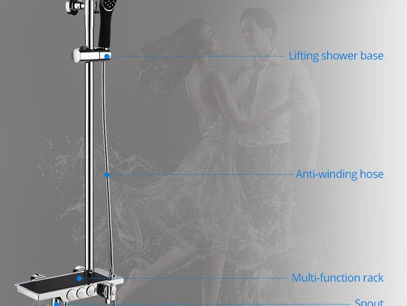 hm Black Rainfall Thermostatic Shower Faucet Set Single Lever Brass Mixer Valve Rack Bath Shower Mixers Rack shower set (5)