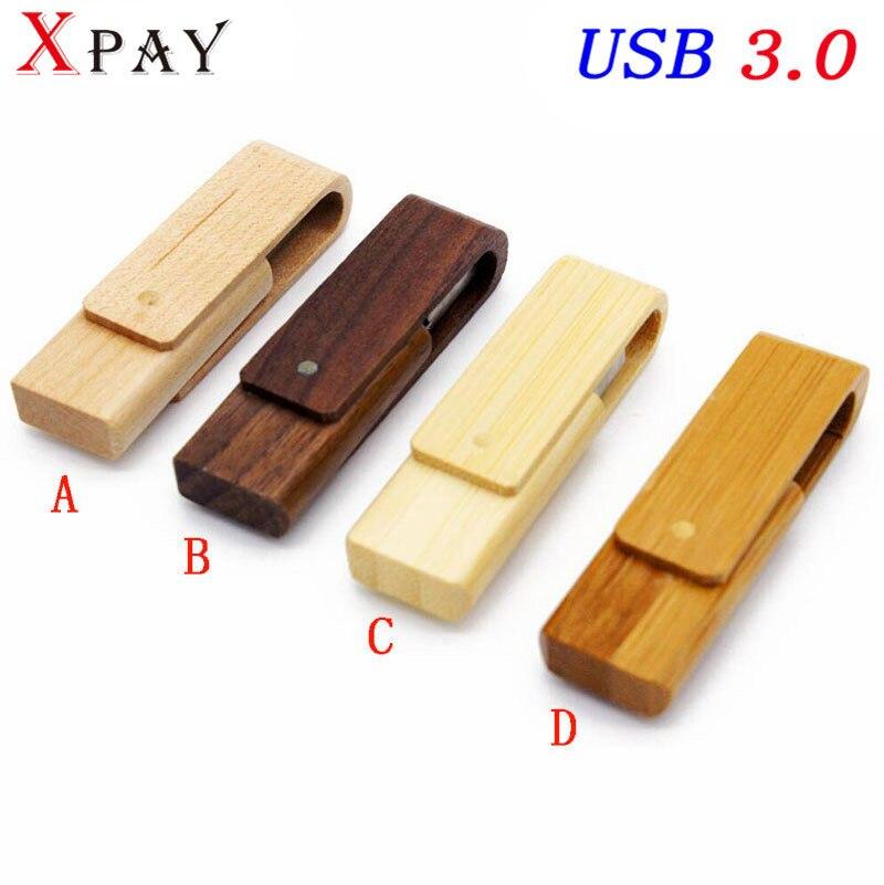 XPAY USB 3.0 laser engraving logo customized wooden rotatable usb flash drive pendrive 4GB 8GB 16GB 32GB memory stick gift