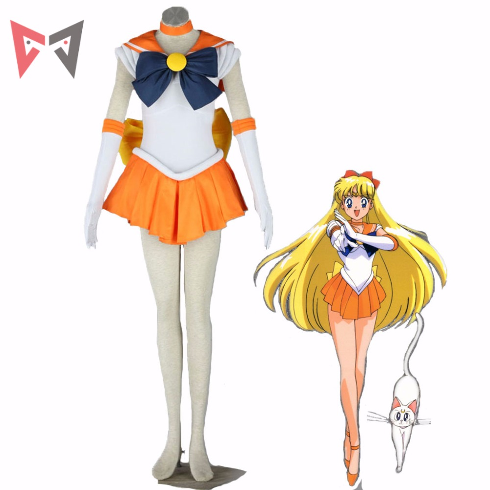 Athemis Anime Sailor Moon Minako Aino / Sailor Venus Cosplay Costum personalizat Dress Roșu de înaltă calitate