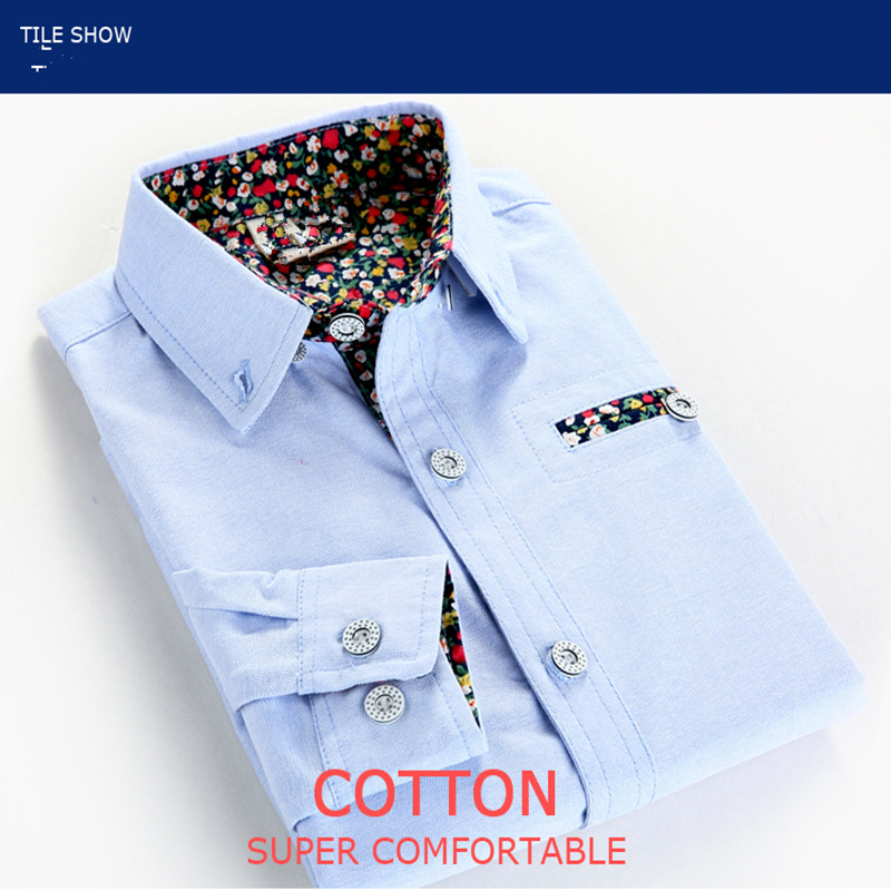 The children's clothing wear long sleeved shirt 2017 new boys spring autumn Korean floral 95% cotton turn-down collar shirts plus size tiny floral and paisley print turn down collar long sleeve men s shirt