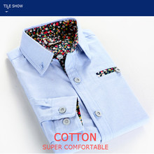 The children's clothing wear long sleeved shirt 2017 new boys spring autumn Korean floral 95% cotton turn-down collar shirts