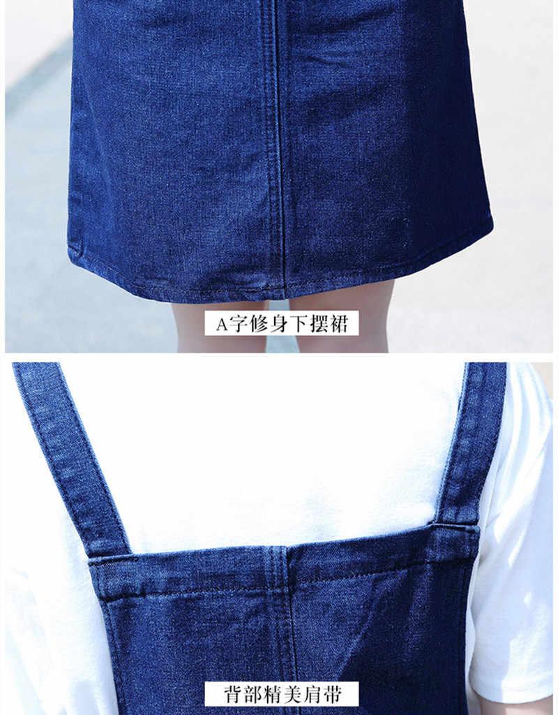 Новое джинсовое платье женское 2018 Лето Весна Корейская мода ремень джинсовые платья Сарафан с карманом комбинезоны джинсы однотонные платья