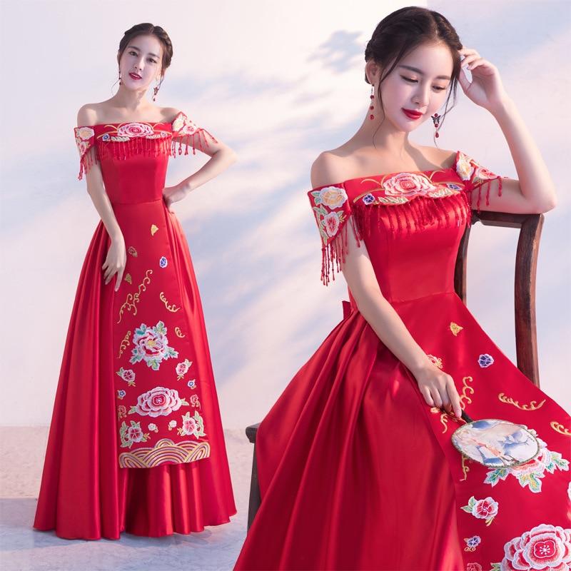 2018 été sans bretelles Cosplay robe de mariée robe chinoise rouge de mariage Cheongsam vêtements pour femmes diamant brodé robe en Satin