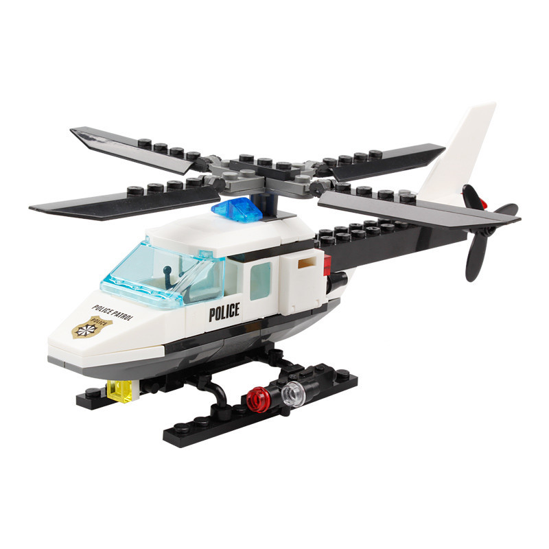 KAZI 102pcs City Police Helicopter Plane Building Blocks Fit LegoINGs Toys For Children Educational DIY Bricks With 1Pcs Figure