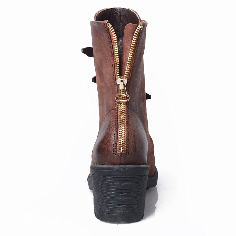 Bout Mode Haute leather Mi Femmes In leather Carré Sangle Confort Nouvelle Perfetto Boucle Botas leather green In En Faire Talons Prova green In Brown Bottes brown Vieux mollet Cuir In Rond Zip plush 8xEBqTnX