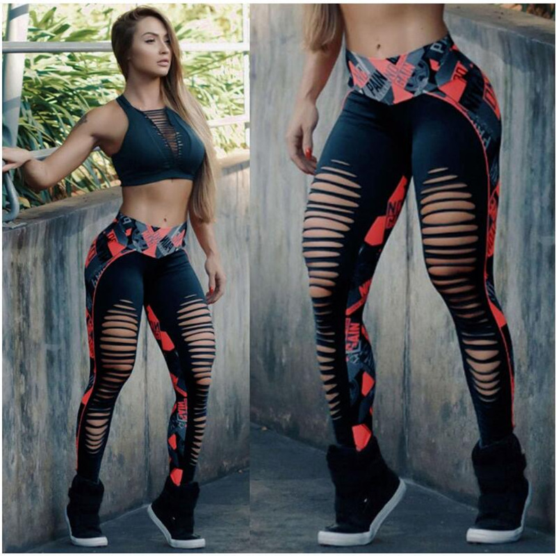 Sexy Patchwork  Hollow Out Printed Women Leggings Breathable Dry Quick Sporting Fitness Leggings Sportwear Pants