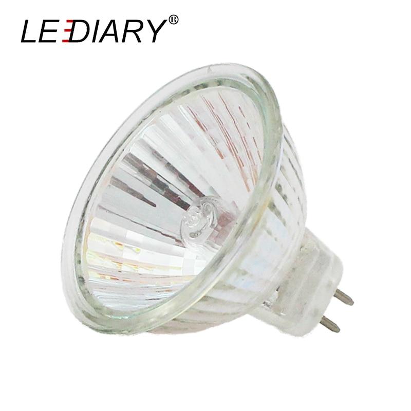 LEDIARY 10PCS Super Bright Dimmable MR16 GU5.3 Halogen Spot Light 12V 20/35/50W Halogen Bulbs Cup Shape Lamp Clear Quartz Glass