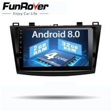 Funrover 2 din Android 8.0 Car dvd Player per Mazda 3 Axela 2010 2012 2013 Autoradio di Navigazione GPS Per Auto Multimediale playe 9 pollici