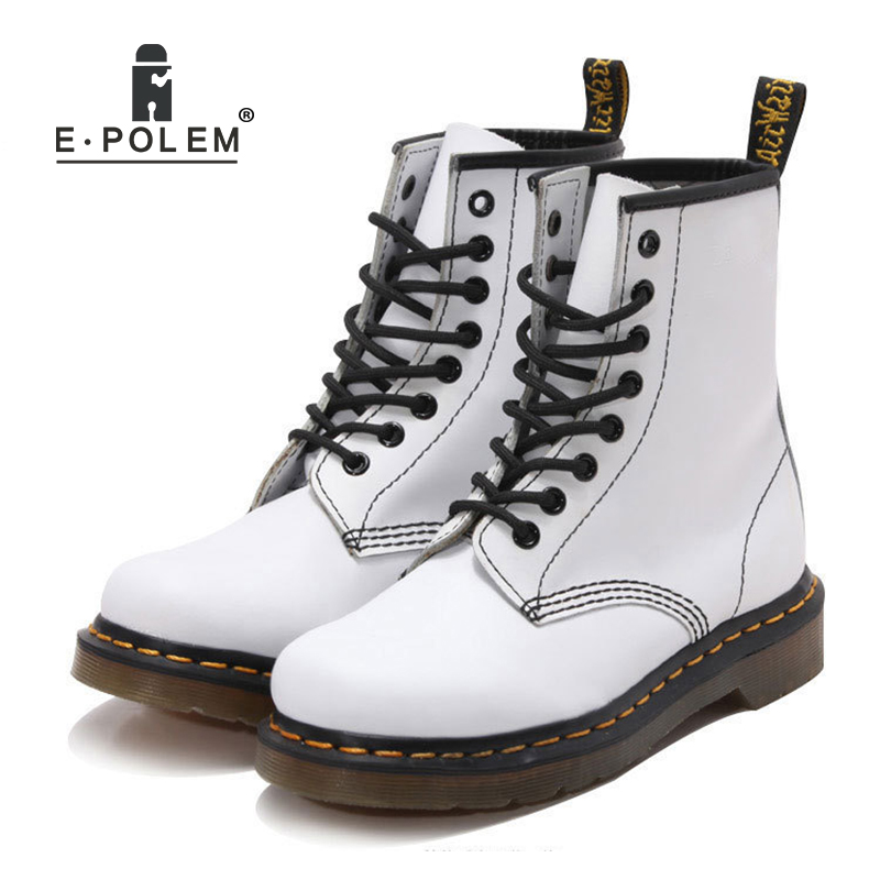 2018 New Fashion White Genuine Leather Martin Boots for Women Soft Breathable Punk Rock Shoes Spring/Autumn/Winter Ankle Boots стоимость