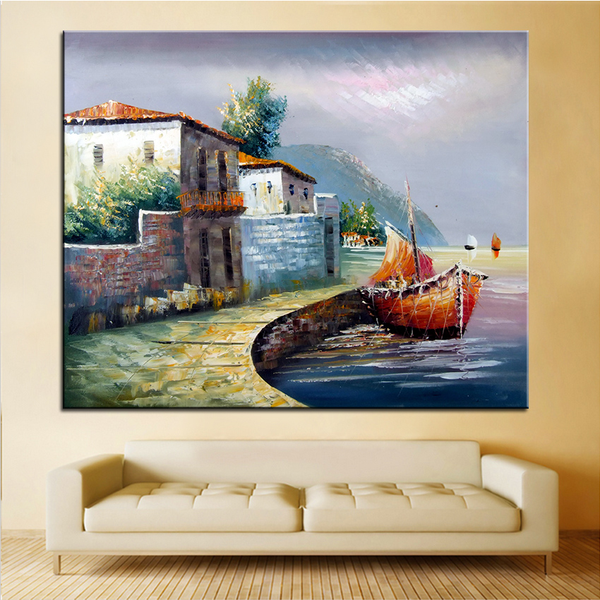 Extra Large wall Painting of Put to Sea Home Office Decoration paint Canvas Prints No Framed Canvas wall picture Giclee art no frame canvas