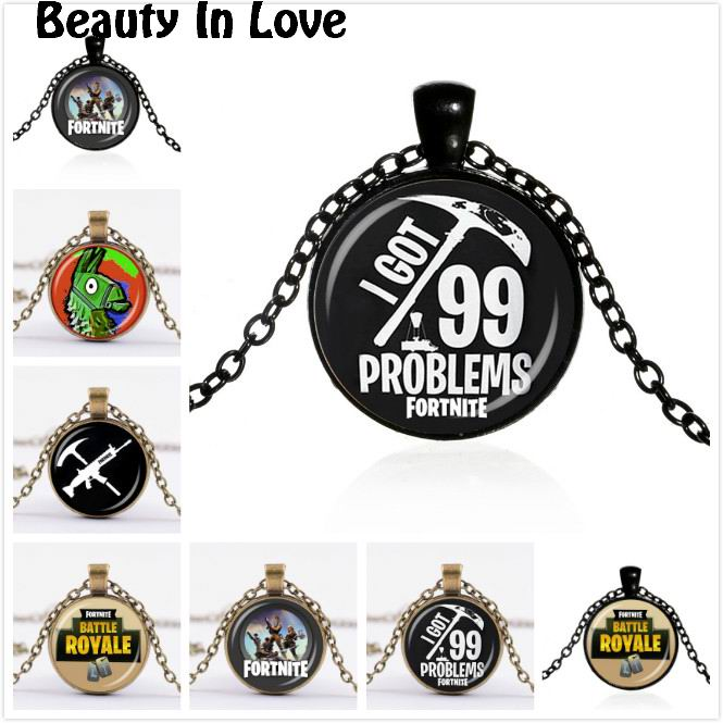 Fortnite Props Necklace Chakra Pendant Choker Cabochon Chain Battle Royale PS4 FPS Game Women Men Jewelry Metal Key Chain F294