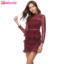 New 2018 Elegant Ruffle Lace Dress Lady Hollow Out Slim Party Dress Women Retro Stand Collar Long Sleeve Short Summer Dresses