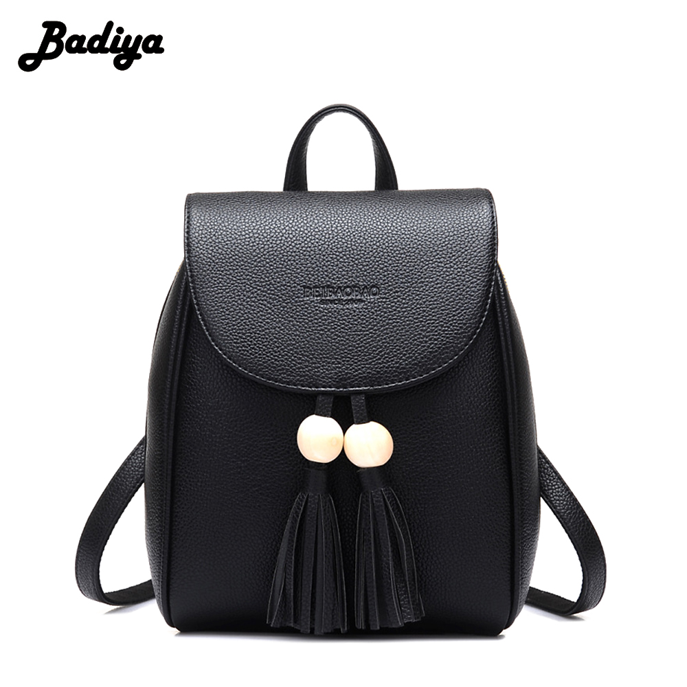 Brief Design Fashion Women Lovely PU Leather Tassel Backpack Small Shoulder Bag Lady Bag Casual Daypack Mochila