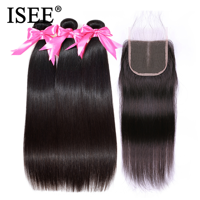 ISEE 3 Bundles Straight Hair With Closure Remy Human Hair Bundles With Closure  4*4 Free Part Swiss Lace Indian Hair Extensions