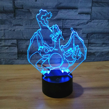 3d Lamp Night Light Touch Switch 7 Color Change Charizard LED Desk Lamp Visual Led Night Light For children