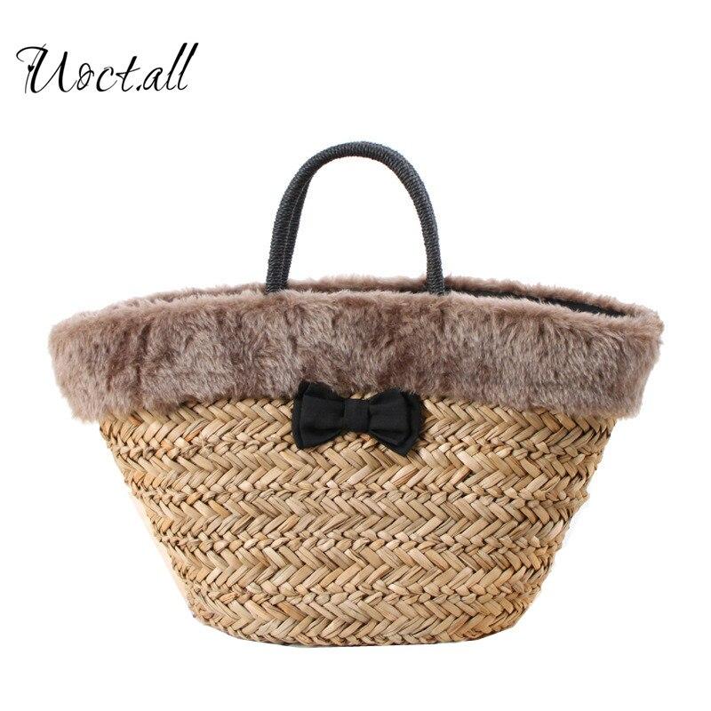 2018 Fashion Straw Weaving Women Beach Bag Faux Fur Girls Shoulder Bag Shopping Tote Rattan Basket Large Bolsas Mujer faux fur duffle shoulder bag