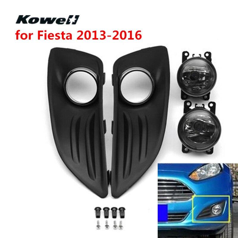 KOWELL Front Bumper Fog Light Grill Left & Right Grilles for Ford Fiesta 2013-2016 FogLights Grills + High Brightness Light Kit 2 x grilles left