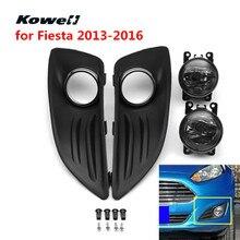 Kowell переднего бампера противотуманных фар гриль левый и правый решетки для Ford Fiesta 2013-2016 противотуманки грили + высокая яркость свет комплект