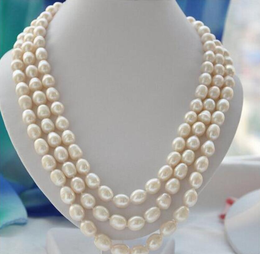 Women Gift Freshwater very good 3strands 10 11mm rice white Freshwater cultured pearl necklace Fine women jewe