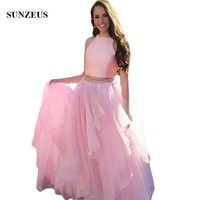 Two Piece Prom Dress Crop Top Beautiful Pink Long Party Gowns For Girls Beaded Waistline Organza Homecoming Dress Birthday Dress