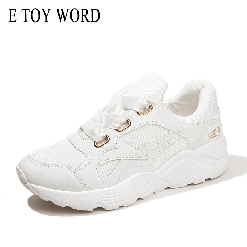 E TOY WORD Platform Shoes 2018 Spring White Sneakers Women Silk Lace Up Breathable Mesh Female Casual Shoes zapatillas mujer