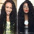 8A Virgem Cheia Do Laço Perucas de Cabelo Humano Para As Mulheres Negras Brasileiras cabelo Cheia Do Laço Perucas Glueless Parte Dianteira Do Laço Do Cabelo Humano Encaracolado Profundo perucas