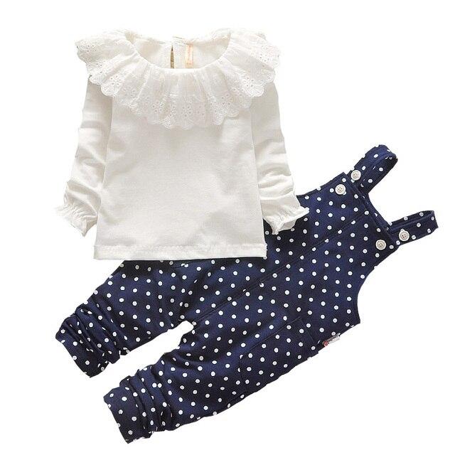 2017 Baby Girls Winter Sets 2 pcs Children Clothes Cute Girls Clothing Sets Cotton Long Sleeve Shirt + Polka Dot Pants