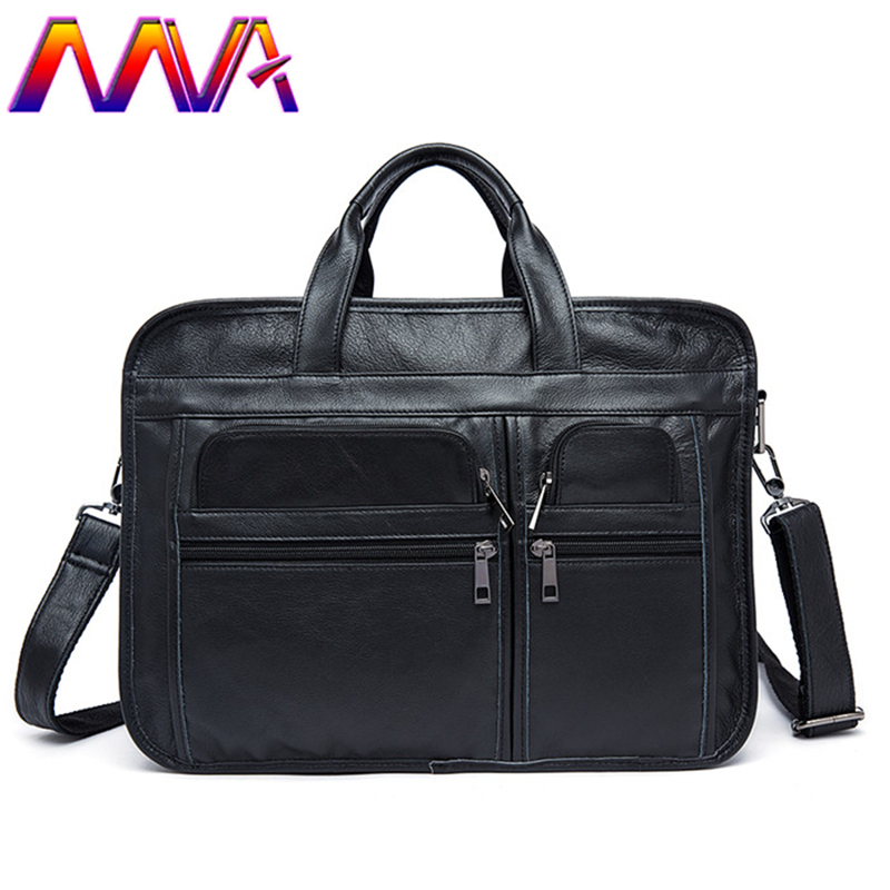 MVA Quality leather men briefcase with cow leather women briefcase for 14 inch notebook handbag and men shoulder bag women bags