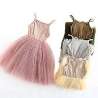 Baby Girls Sling Tutu Dress Mesh Patchwork Knit Cotton Vest Kids Dresses For Girls Party Summer