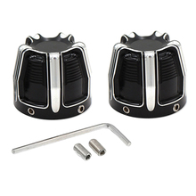 1 Pair Black / Chrome Front Axle Nut Cover Cap For  Softail XL883 XL1200 X48 CNC Aluminum Alloy Motorcycle Accessories