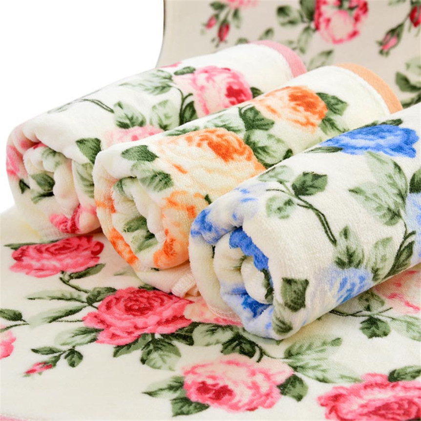 Extraordinary 34*75cm Soft Cotton Face Flower Towel Bamboo Fiber Quick Dry Towels Sep929 pink floral towels